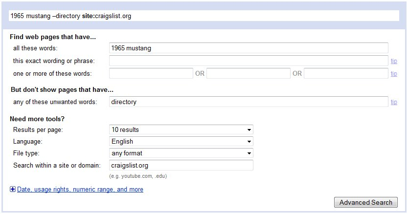 how to search all of craigslist using google